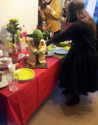 Darth Vader's revenge (by carving knife, on a Yoda cake). Star Wars party, Nottingham, England 2015