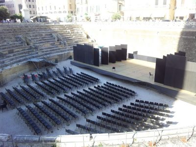 It takes a lot of people's work before a script can reach an audience. Excavated Roman amphitheatre, Lecce, Italy. 2015