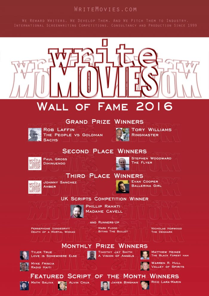 The WriteMovies Wall of Fame 2016 - all of our screenwriting competition winners!