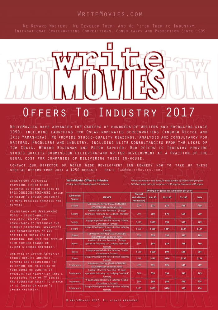 Offers To Industry 2017: WriteMovies have advanced the careers of hundreds of writers and producers since 1999, including launching two Oscar-nominated screenwriters (Andrew Niccol and Iris Yamashita). We provide studio-quality script readings, analysis, submissions filtering and consultancy for Writers, Producers and Industry, including Elite Consultancies from the likes of Tom Craig, Howard Rosenman and Peter Saphier. Our Offers to Industry provide studio quality submission filtering and writer development at a fraction of the usual cost for companies of delivering these in-house. Contact our Director of World Wide Development Ian Kennedy now to take up these special offers - email Ian@WriteMovies.com. Submissions Filtering - providing either brief guidance on which writers to PASS/CONSIDER/RECOMMEND (based on client's chosen criteria), or more detailed analysis and reports. From $15-25 per script and $29 per book. Consultancy and Development Notes - studio-quality analysis, reports and consultancy to determine the current strengths, weaknesses and opportunities of any scripts or books you're handling, and help you develop them further (based on client's chosen criteria). From $79 per script and $84 per book. Analysis of Screen Potential - studio-quality analysis, reports and consultancy to determine the potential of your books or scripts or projects for adaptation into a successful film or TV series, and suggested talent to attach if so (based on client's chosen criteria). From $69 per script or book.