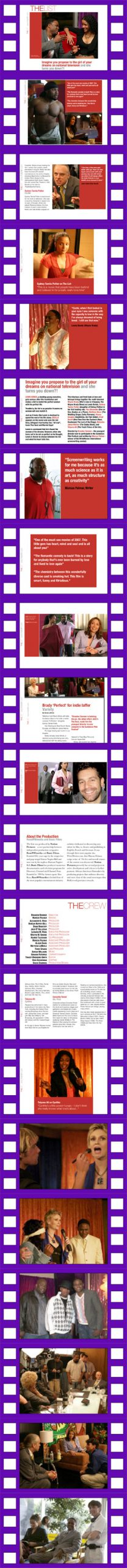 THE LIST motion picture - promotional images in film reel format